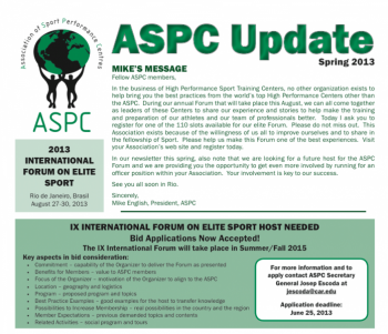 ASPC Update Newsletter Spring 2013
