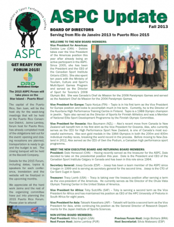 ASPC Update Newsletter Fall 2013